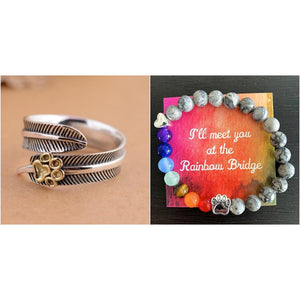 """All Dogs Go To Heaven"" Sterling Silver Angel Feather Ring w/ Rainbow Bridge Bracelet (Grey Marble)"