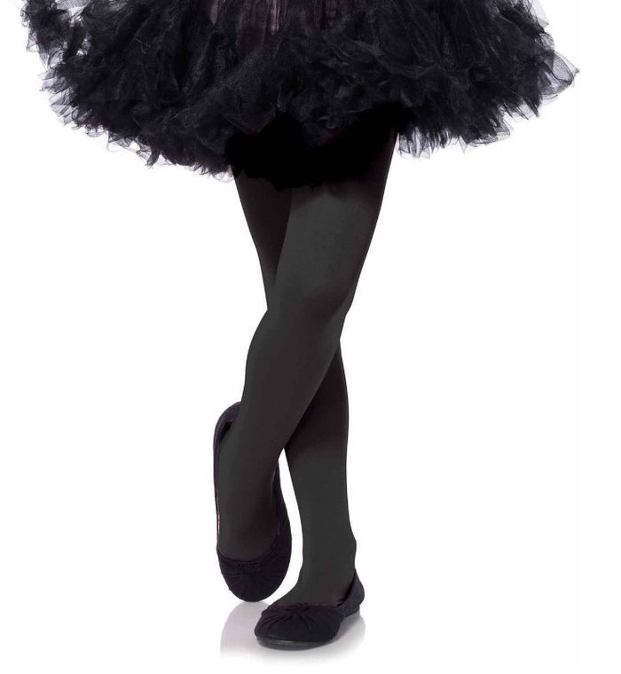 Girl's Black Opaque Tights