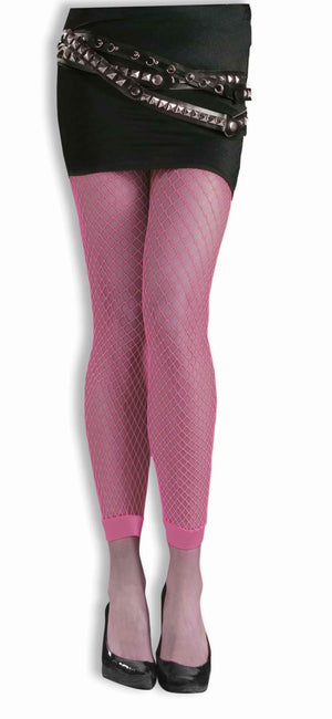 Neon Pink Footless Fishnets