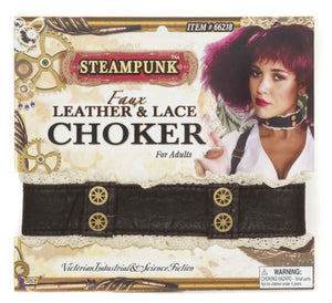 Steampunk Faux Leather Lace Choker