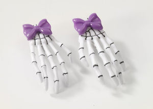 Skeleton Hand Purple Hair Clips