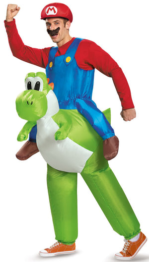 Adult Mario Riding Yoshi Inflatable