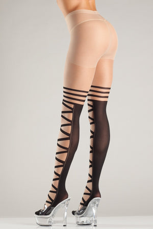 Crisscross Design Tights