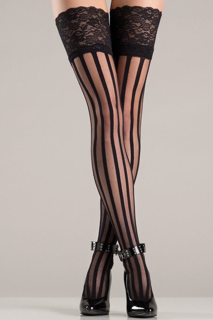 Vertical Striped Stockings with Lace Top