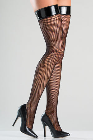 Fishnet Thigh Highs with Vinyl Top
