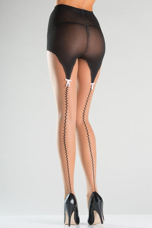 Sheer Tights with Faux Garterstrap Design