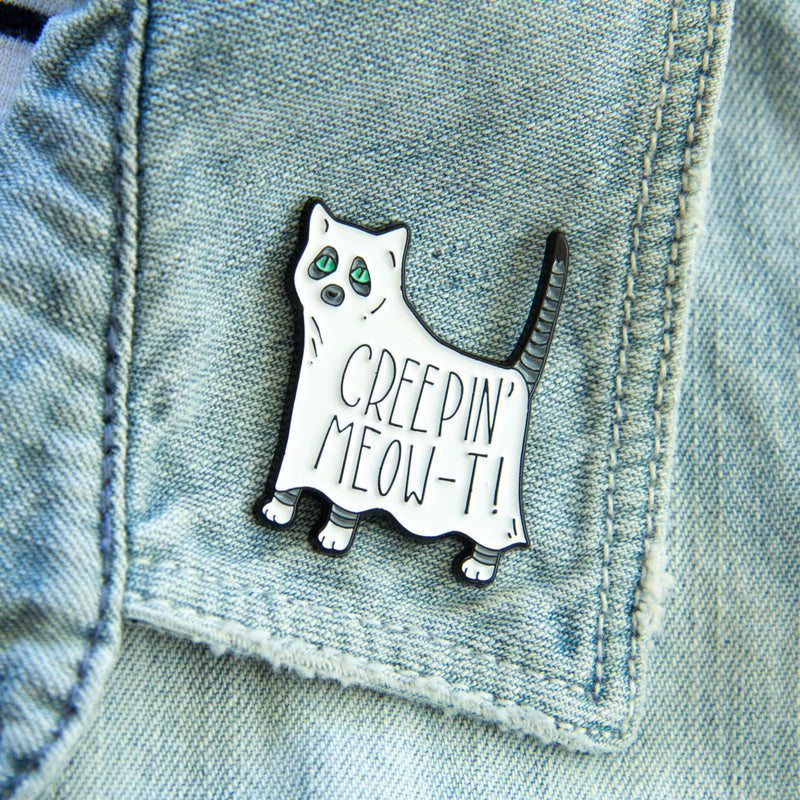Creeping Meow-t Ghost Cat Enamel Pin