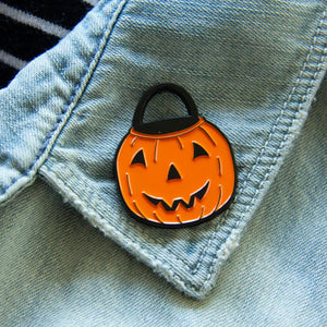 Vintage Halloween Pumpkin Bucket Enamel Pin