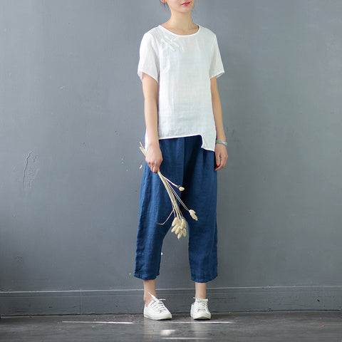 Pure Linen Retro Harem Cropped Pants