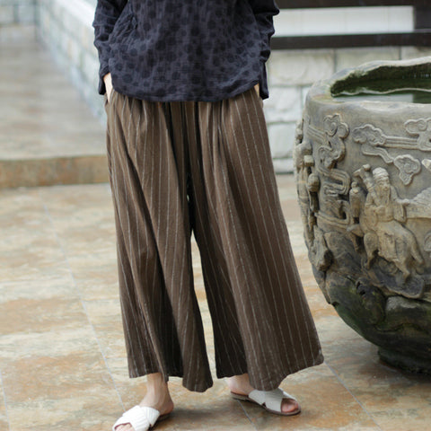 Cotton hemp vertical stripe loose wide leg pants