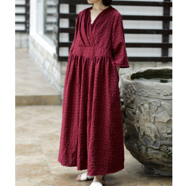 Classic jacquard flared sleeve warp dress
