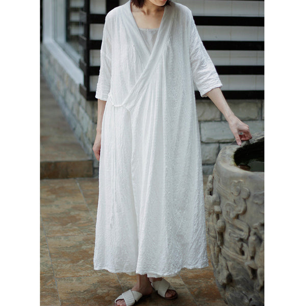 Cotton linen folk slant Lapel kimono dress