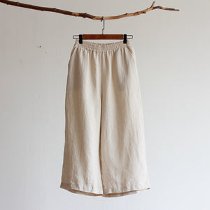 Pure linen cropped trousers loose straight pants