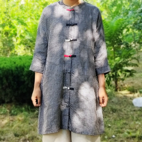 Yarn dyed pure linen plaid long shirt cardigan