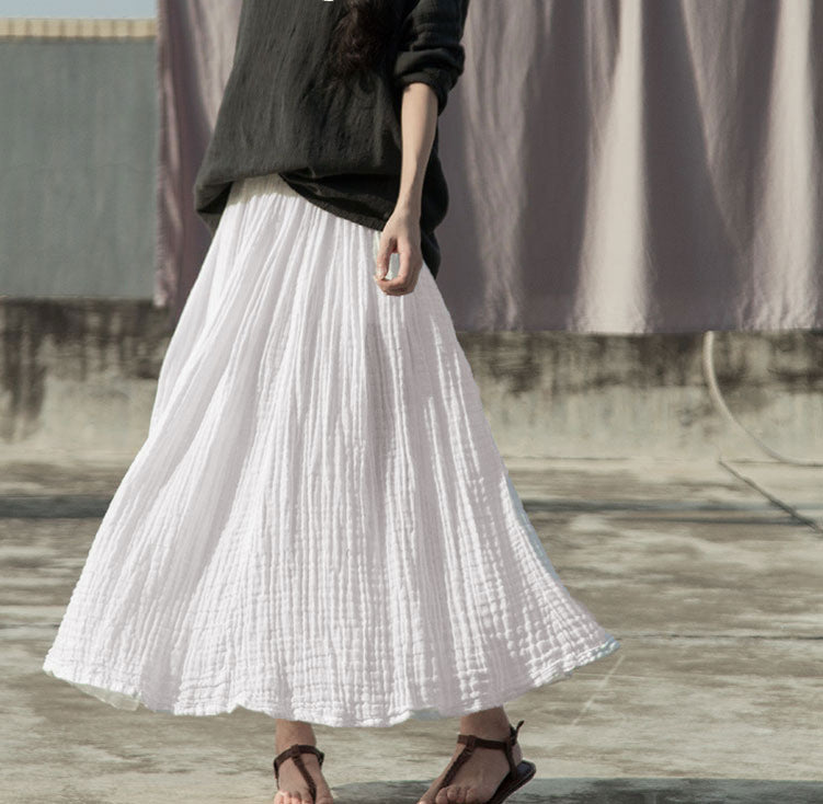 Sheer white cotton texture natural wrinkle elegant maxi skirt