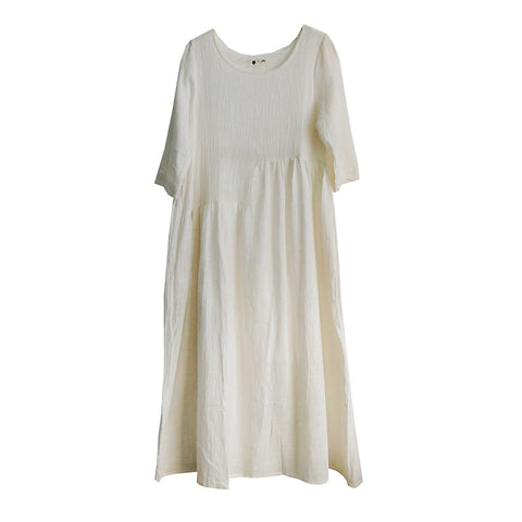 SALE loose onepiece linen cotton flare tunic long dress