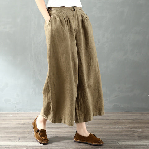 2019 spring  culottes palazzo Linen wide Leg pants