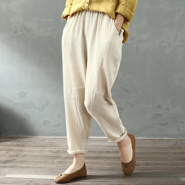 Solid color elastic waist retro tapered linen pants