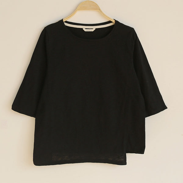 100% bamboo cotton irregular loose T-shirt