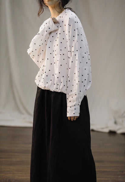 Round neck polka dot linen loose wild women's long-sleeved shirt