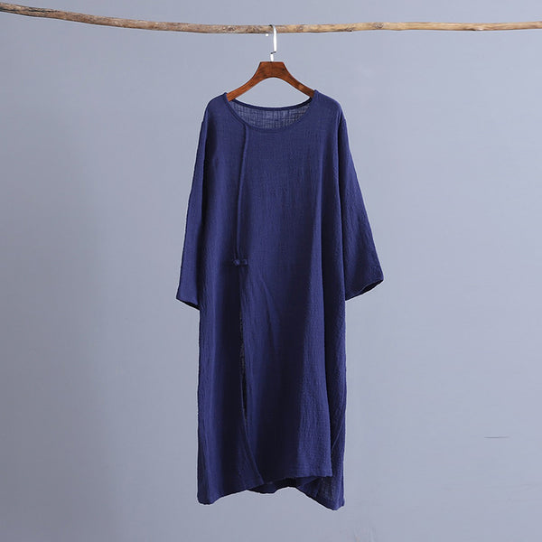 Retro one-piece loungewear loose linen zen robe