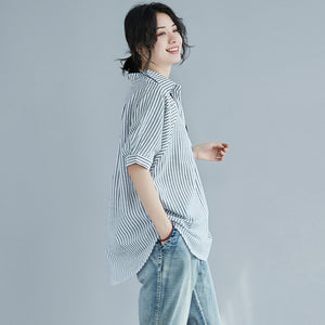 Slow fashion Linen Loose striped shirt