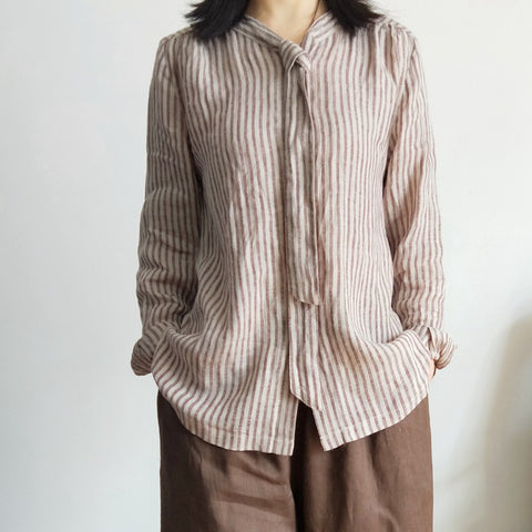 Women's yarn-dyed linen temperament urban casual striped shirt