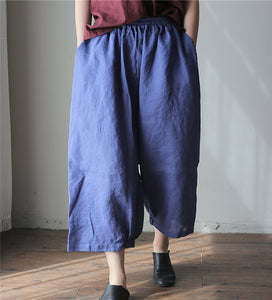 Simple washed linen loose 7 points wide leg culottes cool pants