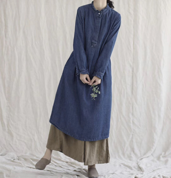 New one-piece mid-length cotton denim shirt dress