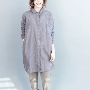 Loose artistic solid mid length button down shirt