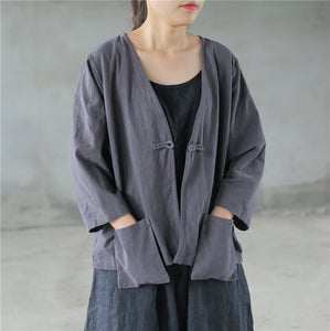 Vintage linen folk button big pocket shirt cardigan Jacket