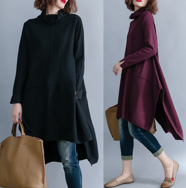 Cozy loose sweater half-collar knit dress