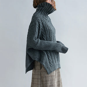 Knit oversize woman turtleneck pullover sweater