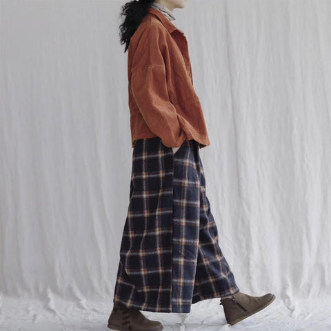 Zen Multicolored Wool Checked Wide Leg Pants