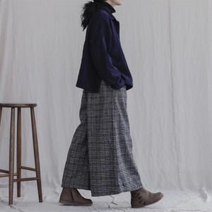 Woolen Grid Casual Pants Retro Elastic Waist Thicken Wide Leg Pants