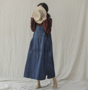 Denim bib dress women's one-piece dress