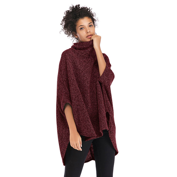 Irregular cape coat high neck sweater