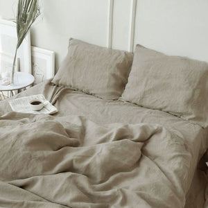 Washed natural linen bed sheets skin friendly solid sheets