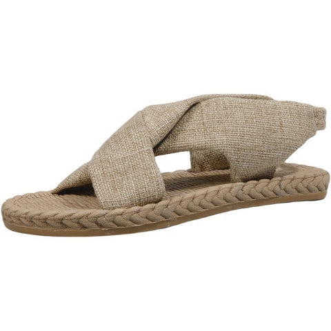 Ladonna straw style woven linen roman sandals shoes