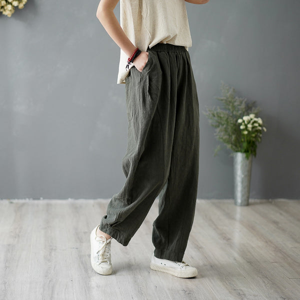 Summer Linen patchwork casual trousers bloomers pants for women