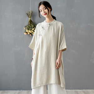 Hemp Art loose linen plate buckle collar dress