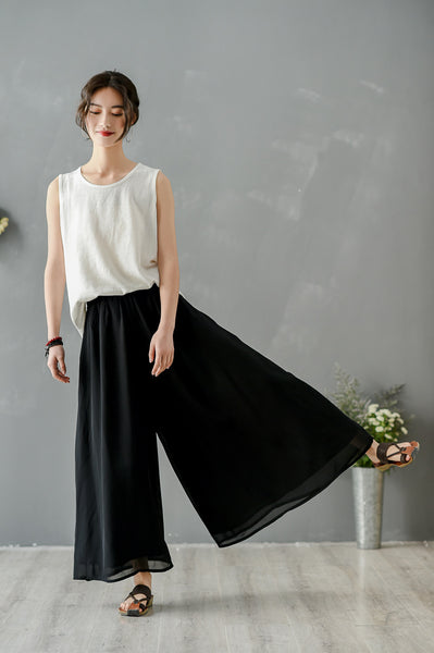 double layer Chiffon nine quarter wide-leg slacks for women
