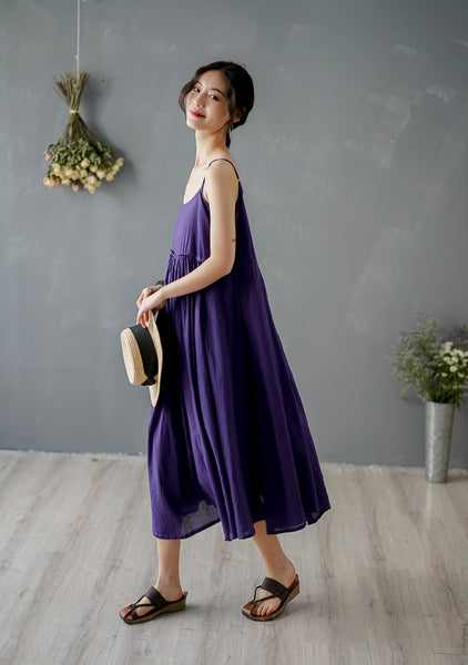 Women's summer cotton linen sling dress