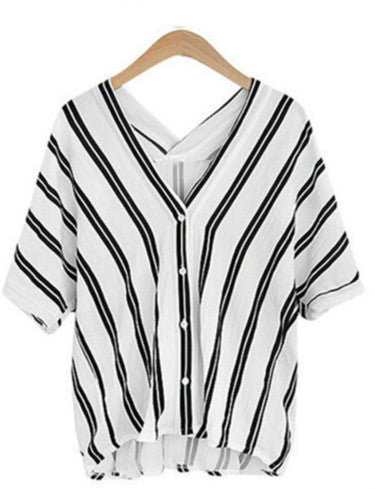 2019 new vertical striped cotton shirt