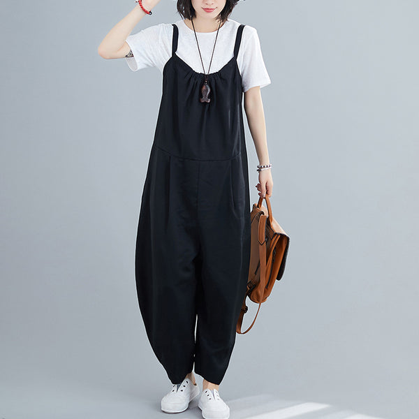 Linen jumpsuit women's one piece wide leg overalls