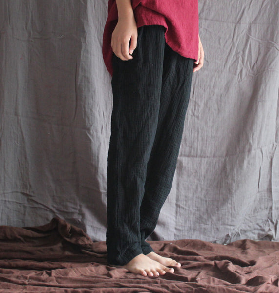 Fairy comfortable texture cotton linen straight cropped pants