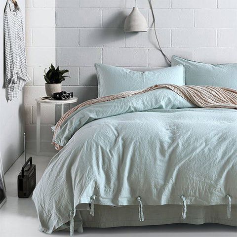 Ice Blue linen blending duvet cover set