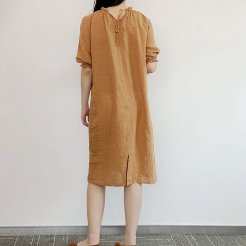 Pure linen loungewear casual loose dress