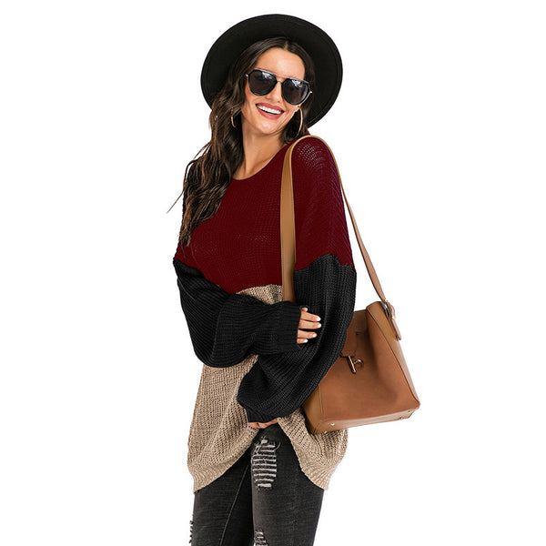 T-neck color stitching loose long sleeve sweater