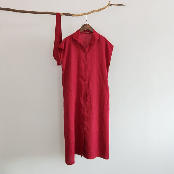 100% pure linen cardigan straight loose dress